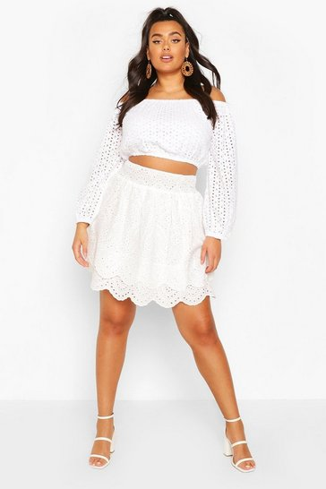 White Plus Brpiderie Anglais Ruffle Tiered Skater Skirt