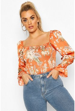 Orange Plus Tropical Floral Satin Longsleeve Crop Top