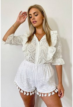 White Plus Broiderie Anglaise Ruffle Collarless Shirt