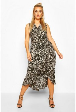 Black Plus Leopard Ruffle Wrap Midi Dress