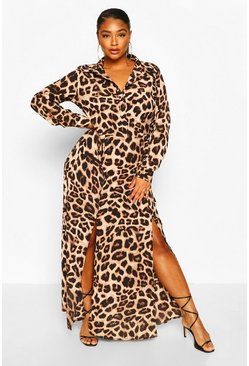 Brown Plus Leopard Oversized Shirt Maxi Dress