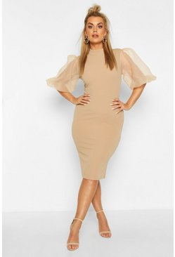 Mocha Plus Organza Puff Ball Sleeve Midi Dress
