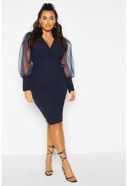 Navy Plus Organza Puff Sleeve Wrap Midi Dress