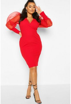 Red Plus Organza Puff Sleeve Wrap Dress