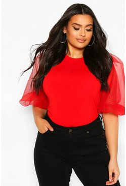 Red Plus Puff Ball Organza Sleeve Bodysuit