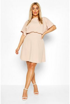 Stone Plus Blouson Skater Dress