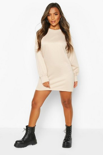 Ecru Petite Volume Sleeve Sweat Dress