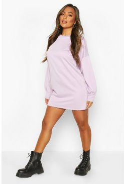 Lilac Petite Volume Sleeve Sweat Dress