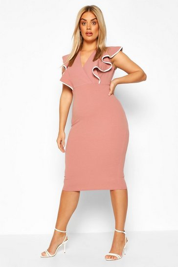 Rose Plus Contrast Ruffle Midi Dress