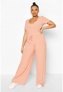 Apricot Plus Rib High Waisted Wide Leg Pants