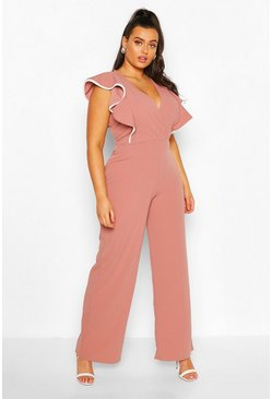 Rose Plus Contrast Ruffle Wide Leg Jumpsuit