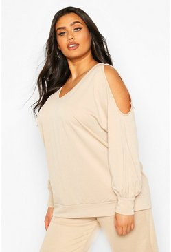 Stone Plus V Neck Cold Shoulder Sweat