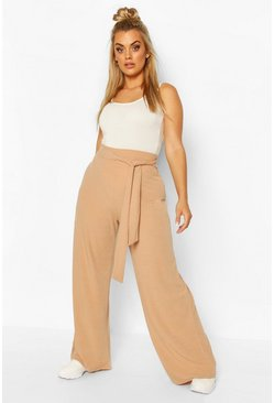 Stone Plus Soft Rib Wide Leg Trousers