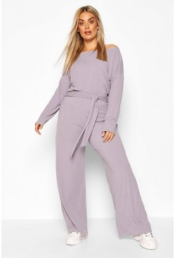 Grey Plus Slash Neck Rib Lounge Set