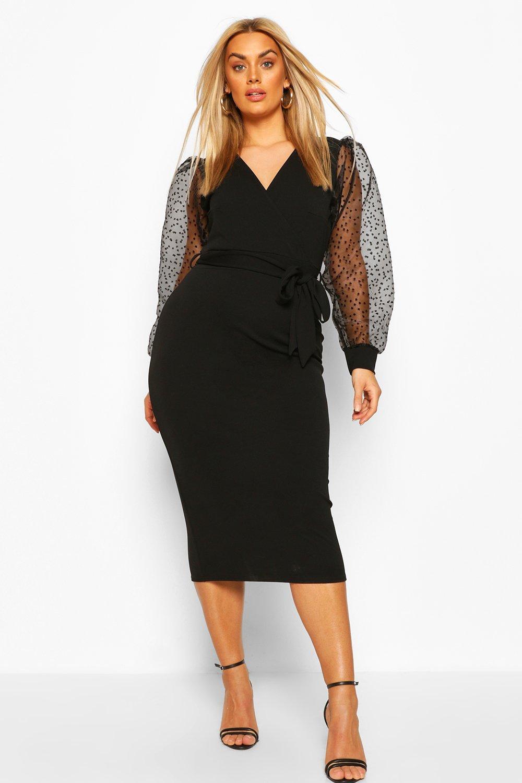 1950s Style Clothing & Fashion Womens Plus Heart Organza Sleeve Midi Dress - Black - 16 $20.00 AT vintagedancer.com
