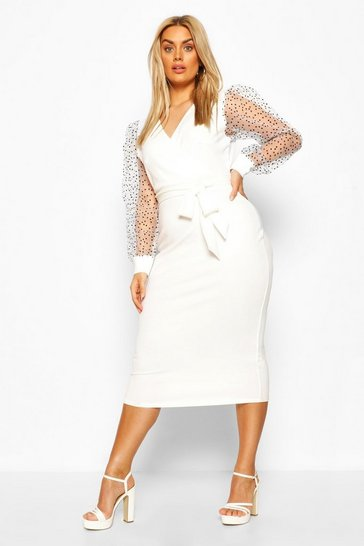 Ivory Plus Heart Organza Sleeve Midi Dress