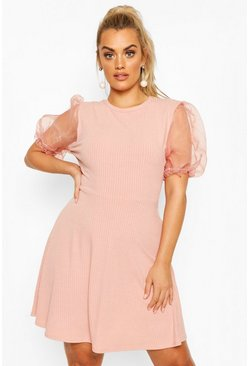 Blush Plus Organza Puff Sleeve Skater Dress