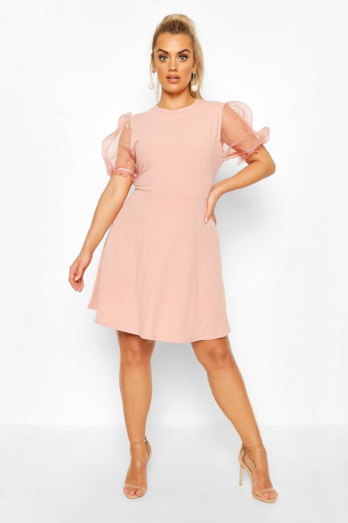 Robe patineuse rouge organza manches bouffantes