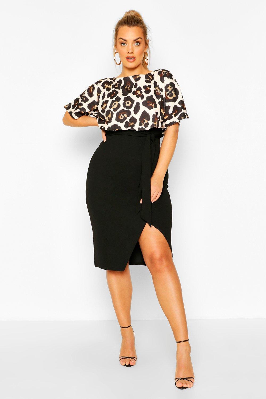 Plus Leopard Contrast Wrap Midi Dress 8