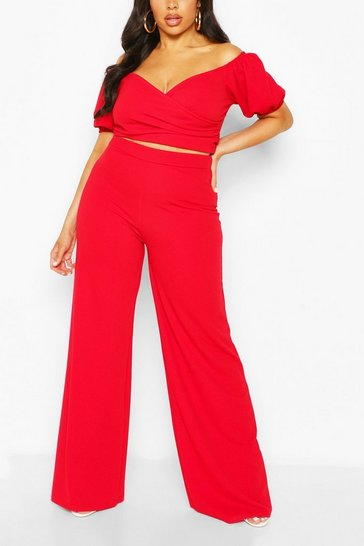 Red Plus Off The Shoulder Top & Wide Leg Trouser Co-ord