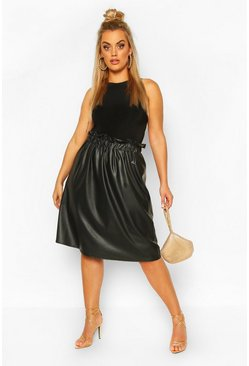 Plus Pu Pleated Midi Skirt , Black