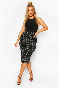 Black Plus Grid Check Midi Skirt