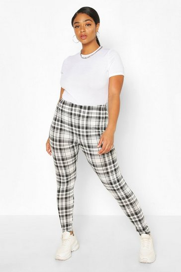 Ivory Plus Check Jersey Legging