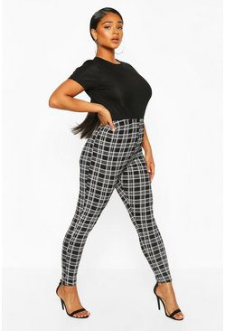 Black Plus Check Jersey Leggings