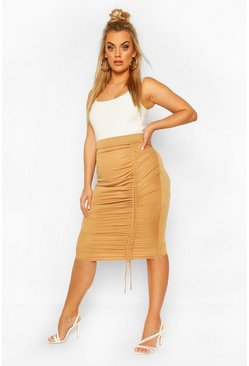 Camel Plus Rouched Midi Skirt