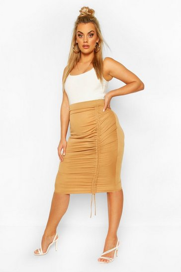 Camel Plus Ruched Midi Skirt