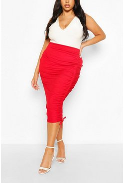 Red Plus Ruched Midi Skirt