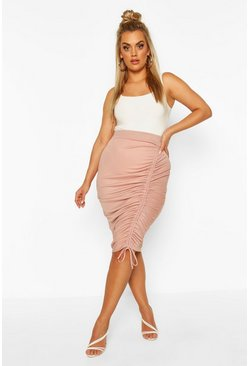 Rose Plus Ruched Midi Skirt
