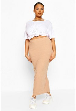 Stone Plus Soft Rib Split Front Midaxi Skirt