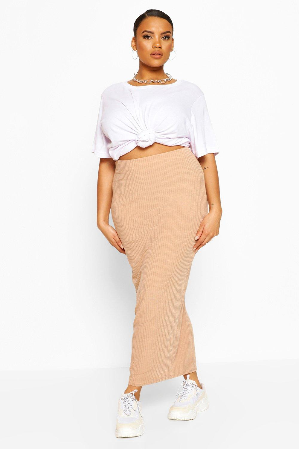 Plus Soft Rib Split Front Midaxi Skirt 8