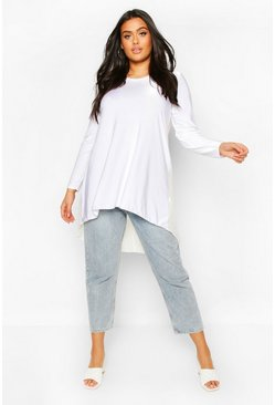 Plus Dip Hem Longsleeve Tunic Top, Ivory