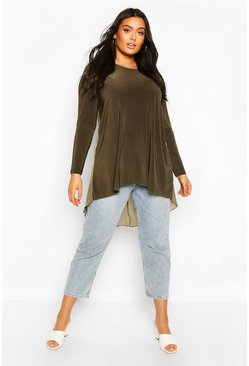 Khaki Plus Dip Hem Longsleeve Tunic Top
