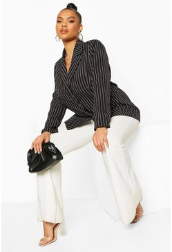 Black Plus Pinstripe Button Detail Oversized Blazer