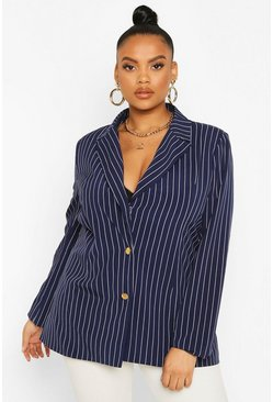 Navy Plus Pinstripe Button Detail Oversized Blazer