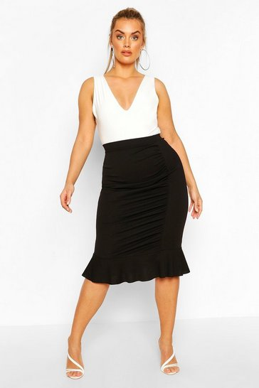 Black Plus Ruched Peplum Hem Midi Skirt