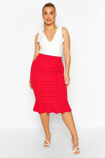Red Plus Ruched Peplum Hem Midi Skirt