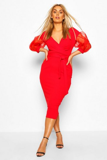 Red Plus Off The Shoulder Organza Sleeve Midi Dress