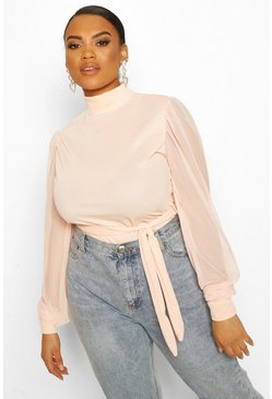 Blush Plus Mesh Puff Sleeve Belted Tunic Top