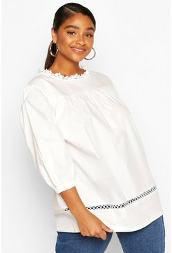 White Plus Crochet Lace Trim Smock Top