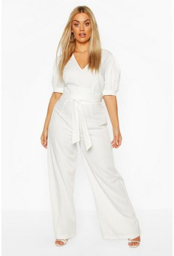 Ivory Plus Puff Sleeve Self Belt Jumpsuit