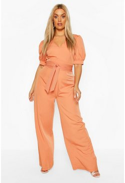Terracotta Plus Puff Sleeve Self Belt Jumpsuit