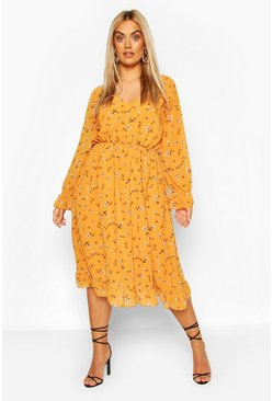 Mustard Plus Floral Print Ruffle Midi Dress