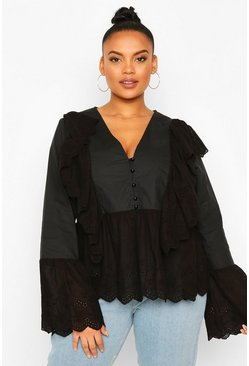 Black Plus Broiderie Anglais Ruffle Blouse