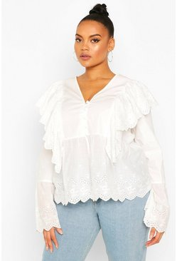White Plus Broiderie Anglais Ruffle Blouse