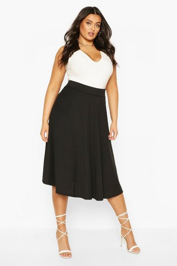Black Plus Bandage Rib Midi Skater Skirt