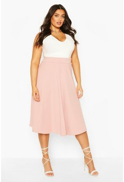 Blush Plus Bandage Rib Midi Skater Skirt